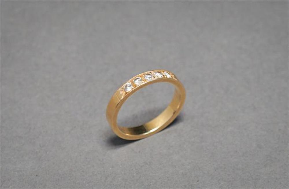 14-Karat Yellow-Gold and Five-Diamond Band, 2 gross dwt, Size: 6