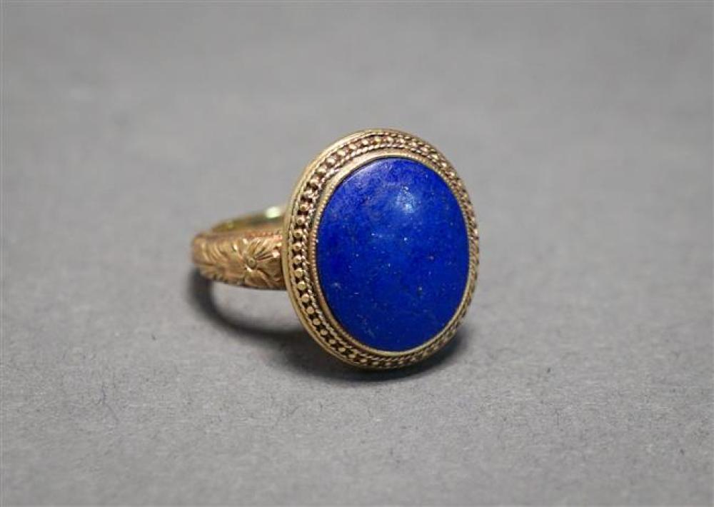 14-Karat Yellow-Gold and Lapis Lazuli Ring, 3.4 gross dwt, Size: 4