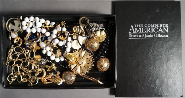 Collection of U.S. Quarters and Costume Jewelry