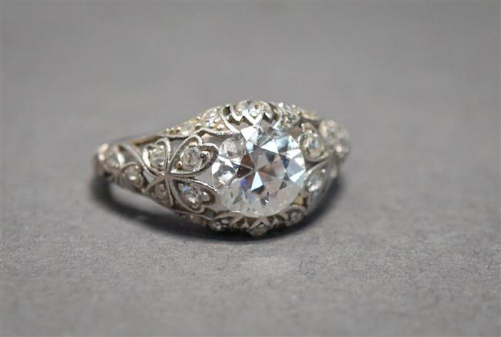 Edwardian Platinum and Diamond Ring, Diamond approx 1