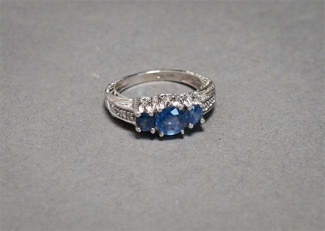 14-Karat White-Gold, Blue Sapphire and Diamond Ring, 3 gross dwt, Size: 7