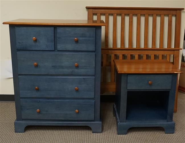 Nadeau (Canada) Blue Painted Fruitwood Chest of Drawers, Night Stand and Twin Bed, Chest H: 41-1/4 in, W: 34 in