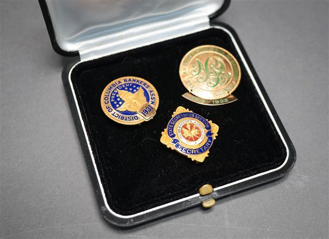 Two 14-Karat Yellow-Gold and Enamel Pins (10.2 gross dwt) and 10-Karat Yellow-Gold and Enamel Pin (3.4 gross dwt)
