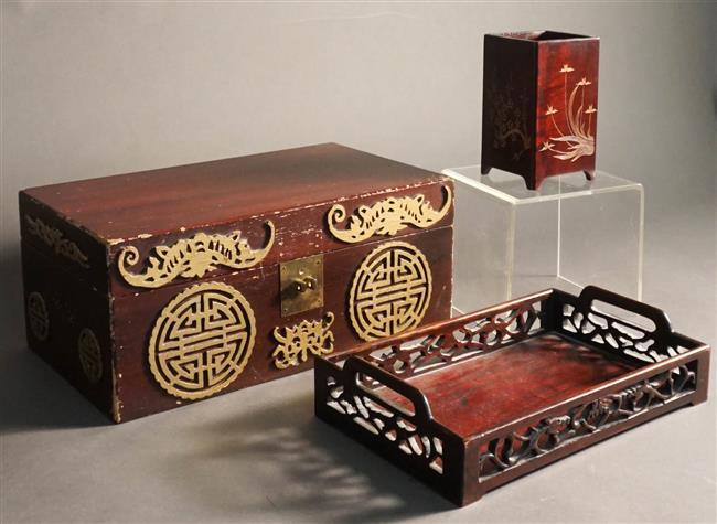 Chinese Wood Box, Brush Pot and Tray