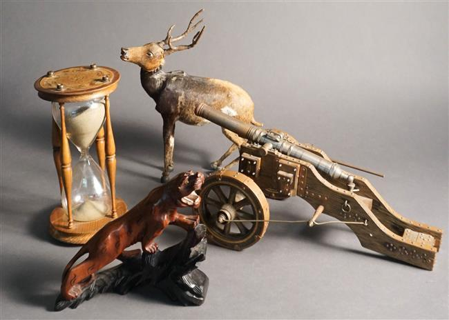 Figure of Deer, Chinese Carved Wood Tiger, Hourglass and Model of a Canon