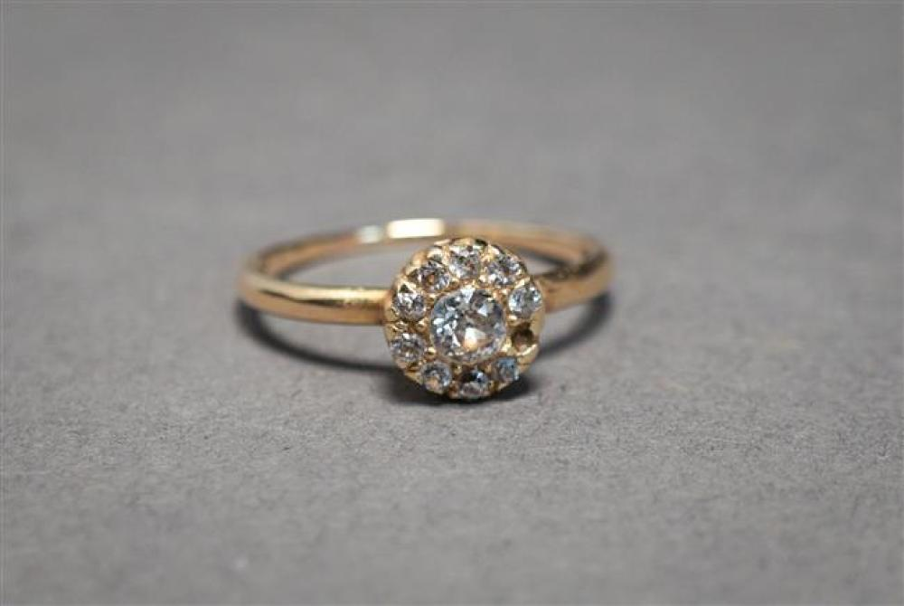 10-Karat Yellow-Gold and Diamond Cluster Ring, 1.3 gross dwt., Size: 5-1/4