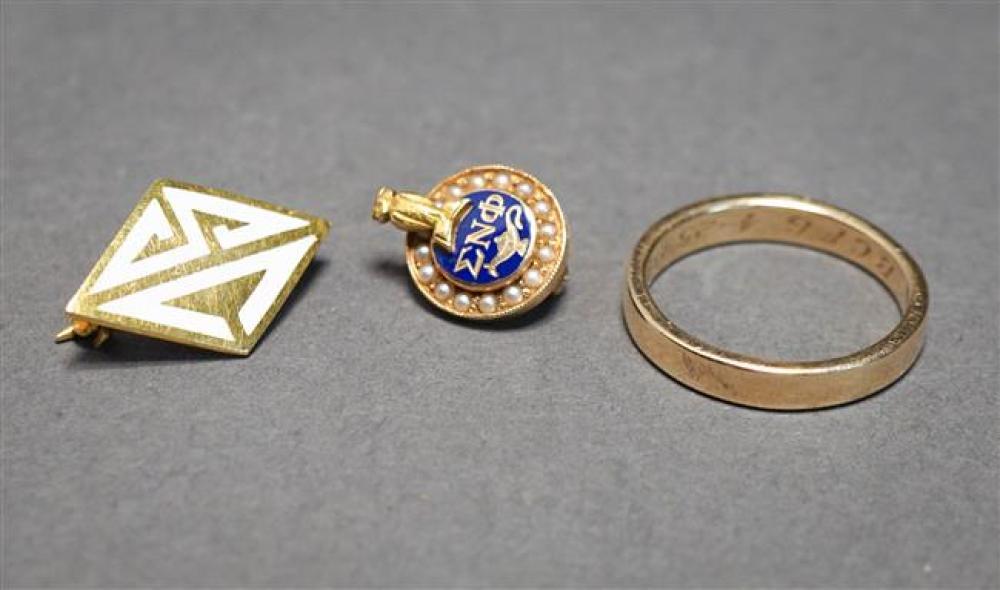 14-Karat Yellow-Gold Band, Tiffany & Co. 14-Karat Yellow-Gold and Enamel Pin and 10-Karat Yellow-Gold Pin, 4 gross dwt.