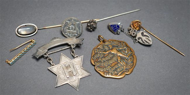 Two 10-Karat Gold Pins (1.6 gross dwt) and Seven Assorted Pins