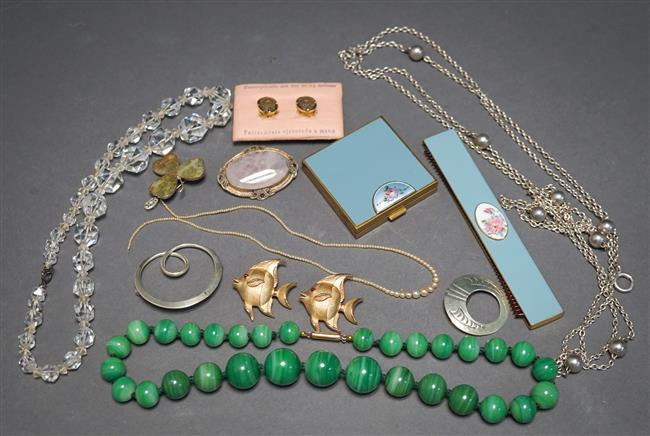 Collection with Three Brooches, Graduated Seed Pearl Youth Necklace, Faux Malachite Necklace and Assorted Jewelry