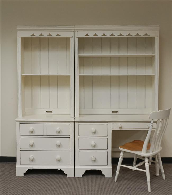 Lexington White Enamel Hutch Top Chest, Hutch Top Desk and Side Chair, H: 78-1/2 in, Overall W: 74-1/4 in