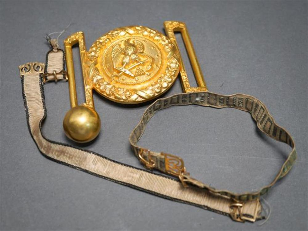 J. R. Gaunt & Son Belt Buckle, Button, Two Bands and Gold Mounted Brooch