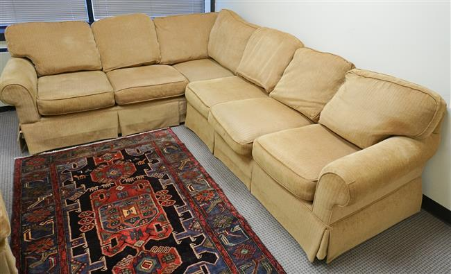 Clayton Marcus Gold Upholstered Three-Section Sofa