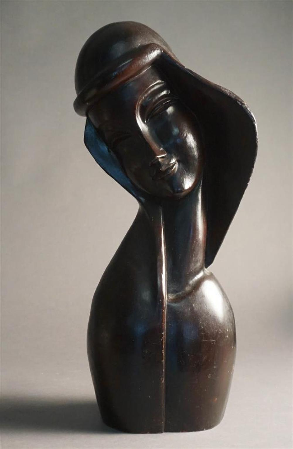 Mid-Century Modern Carved Wood Bust of Woman, H: 18-1/2 inches