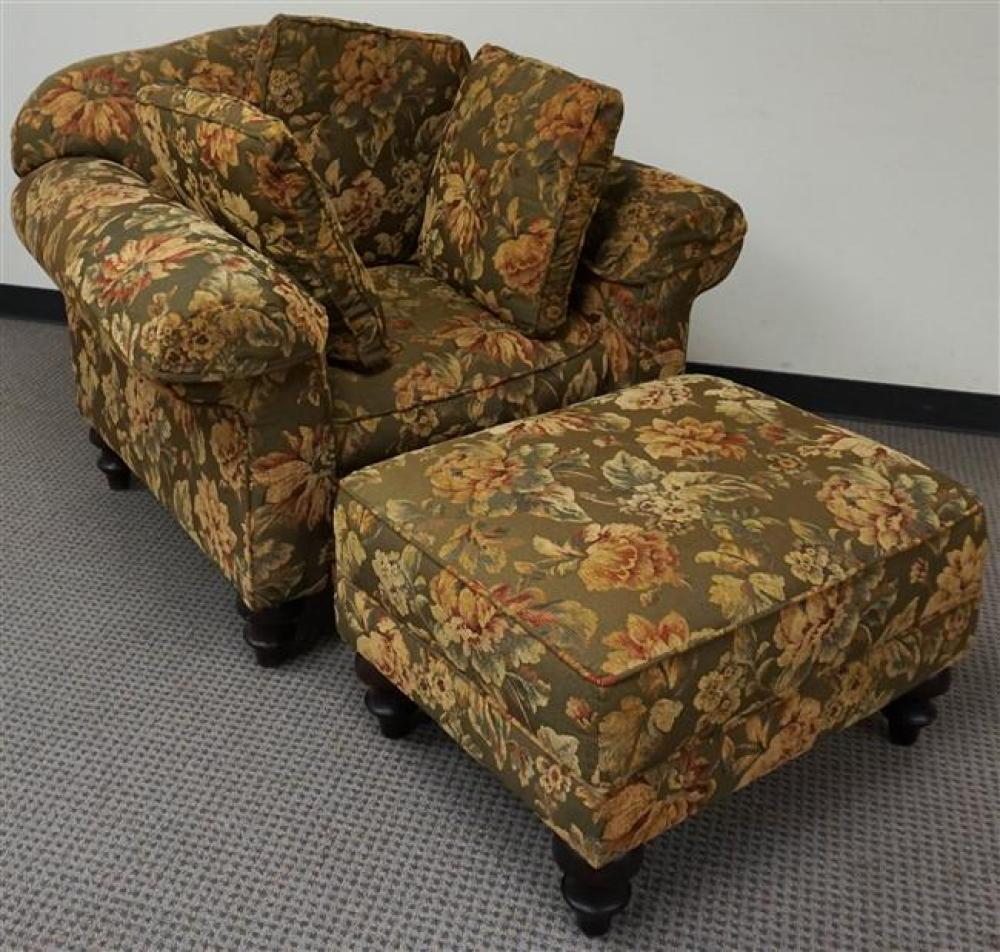 Clayton Marcus Floral Upholstered Lounge Chair and Ottoman