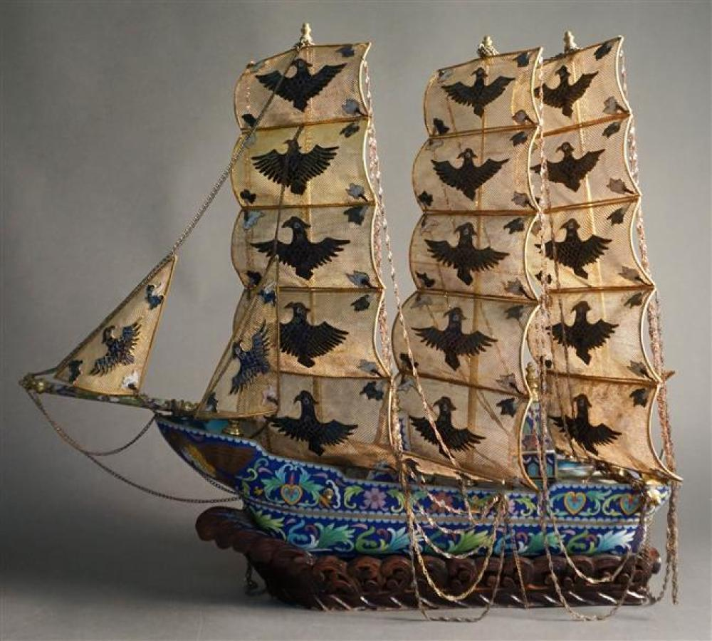 Chinese Cloisonne Enamel and Gilt Metal Three-Masted Ship, H: 21 in