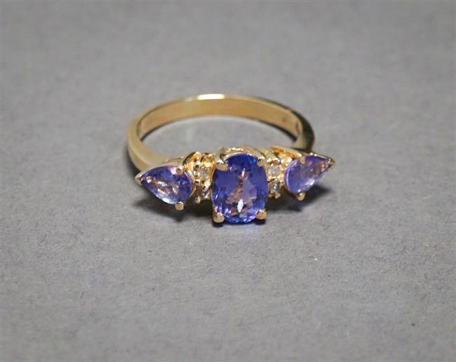 14-Karat Yellow-Gold, Tanzanite and Diamond Ring