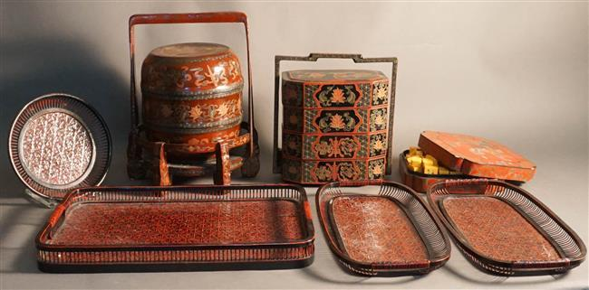Two Asian Lacquer Stacking Boxes, Covered Box and Four Trays