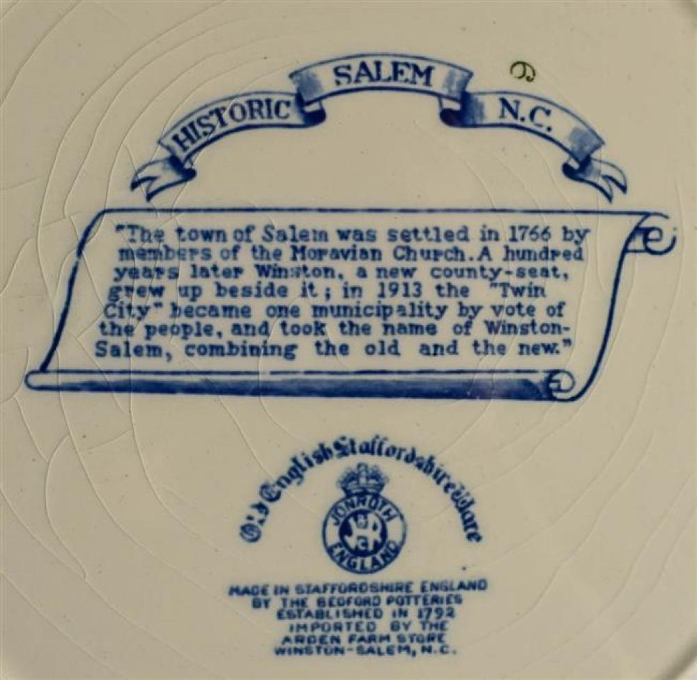 Five English Historical Blue Transfer Decorated Salem College Plates