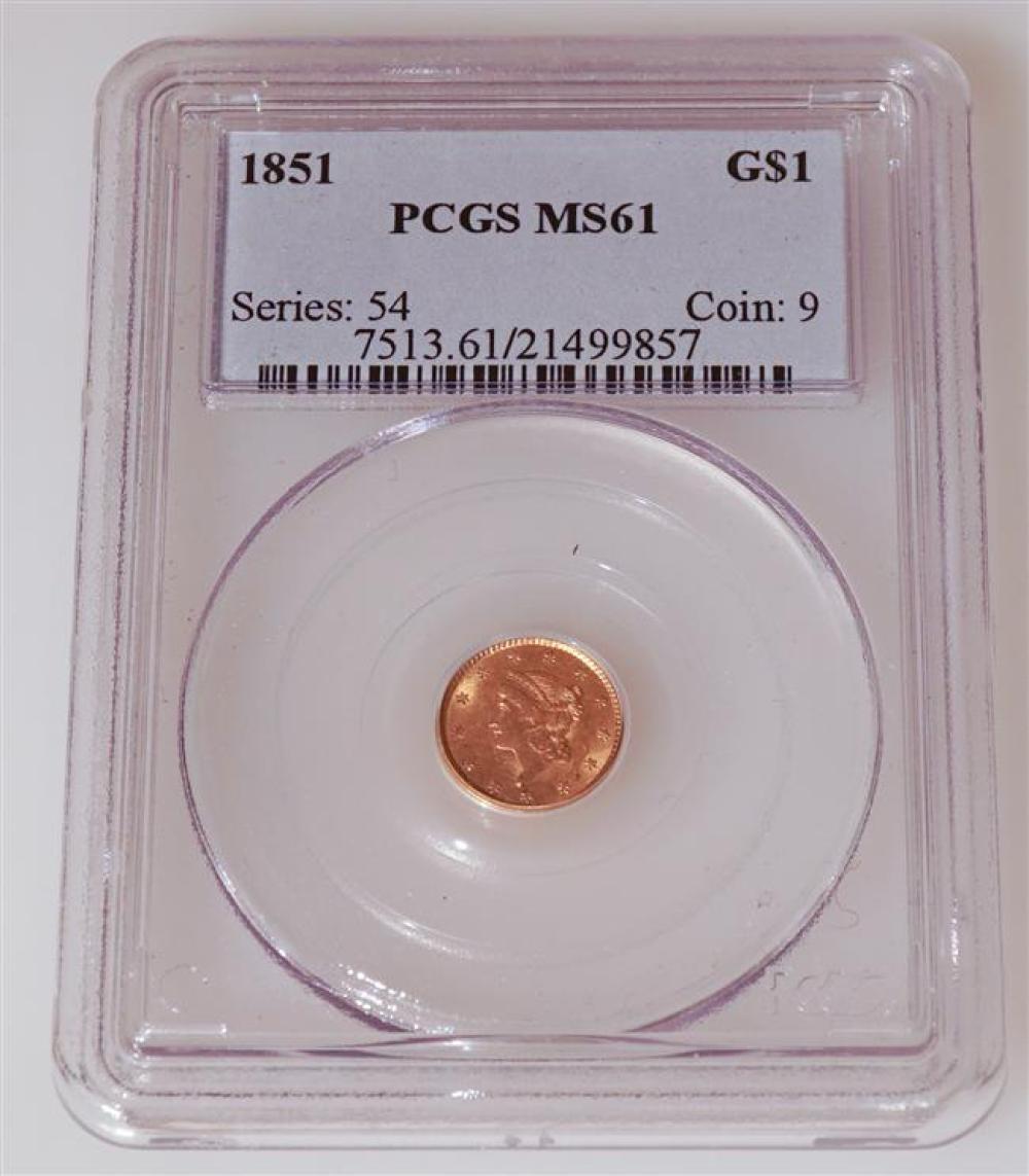 U.S. 1851 Liberty Head One-Dollar Gold Coin