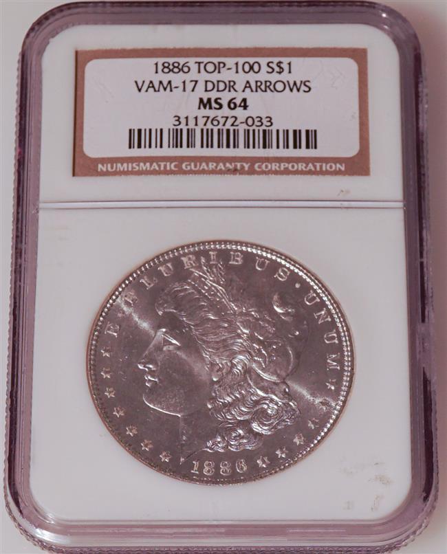 U.S. 1886-P Morgan Silver Dollar, Top-100 Vam-17 DDR Arrows
