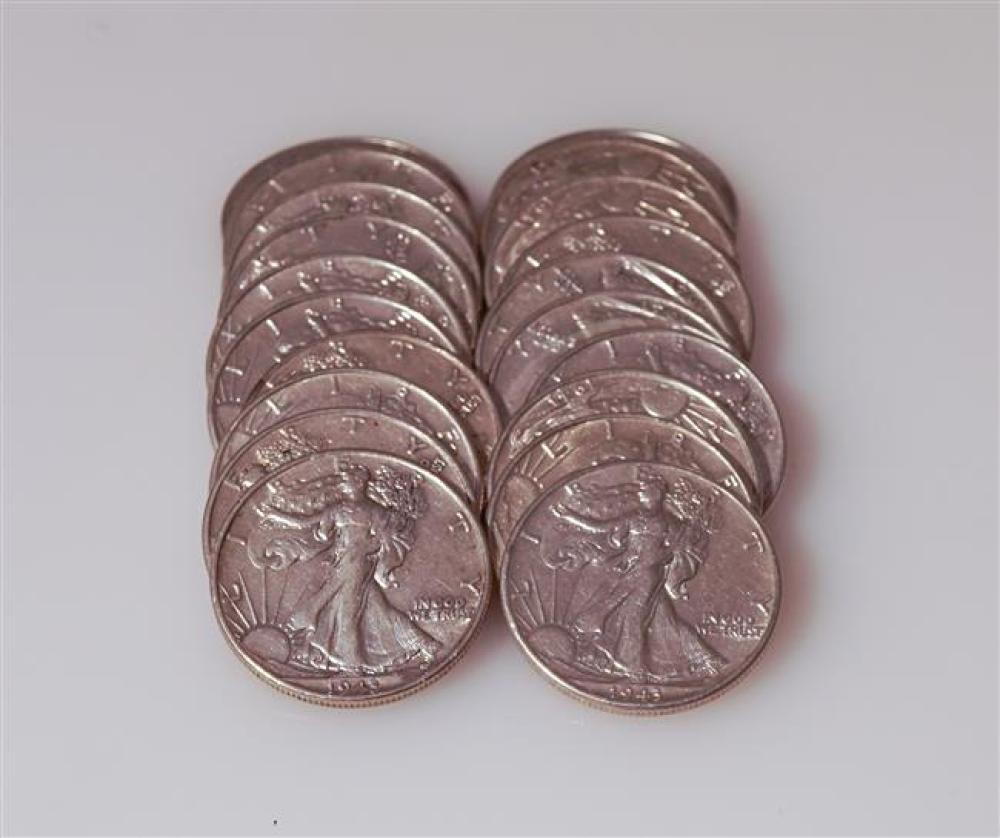 Twenty U.S. 1943 Walking Liberty Silver Half-Dollars
