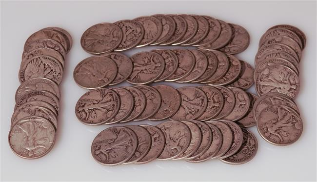 Sixty U.S. Walking Liberty Silver Half-Dollars