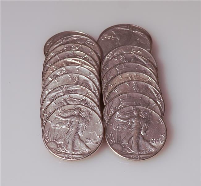 Twenty U.S. 1941 Walking Liberty Silver Half-Dollars