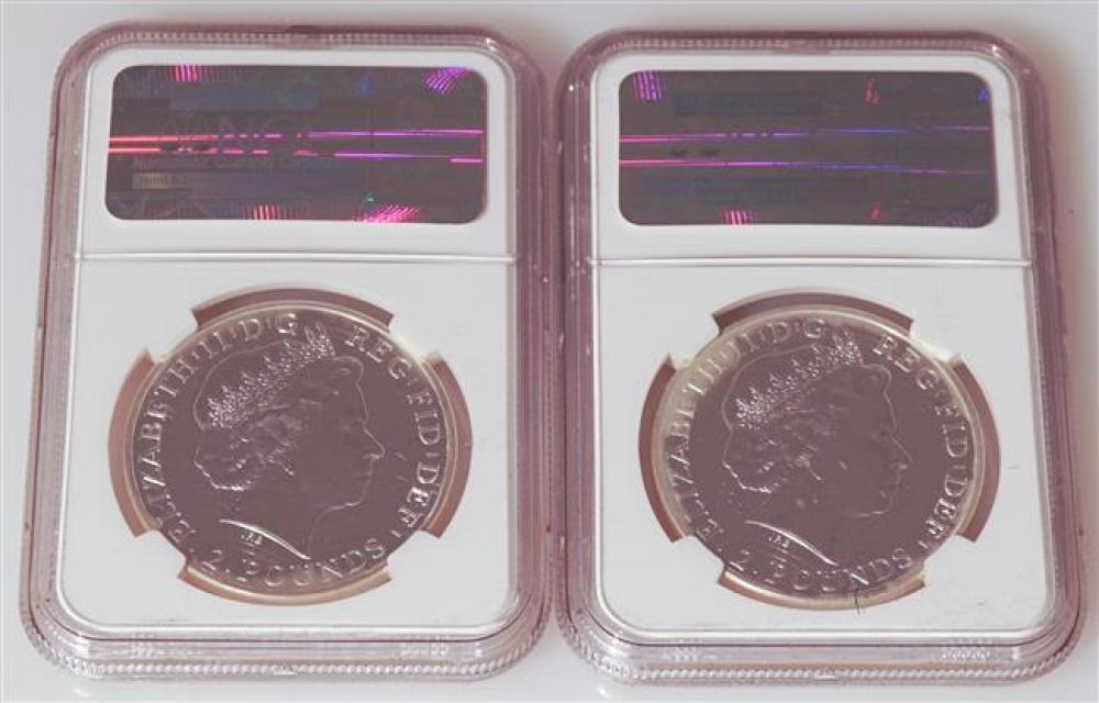 Two 2014 Great Britain Britannia 999-Fine Silver Two-Pound Coins