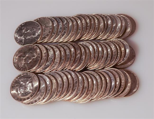 Sixty U.S. 1949 Franklin Silver Half-Dollars