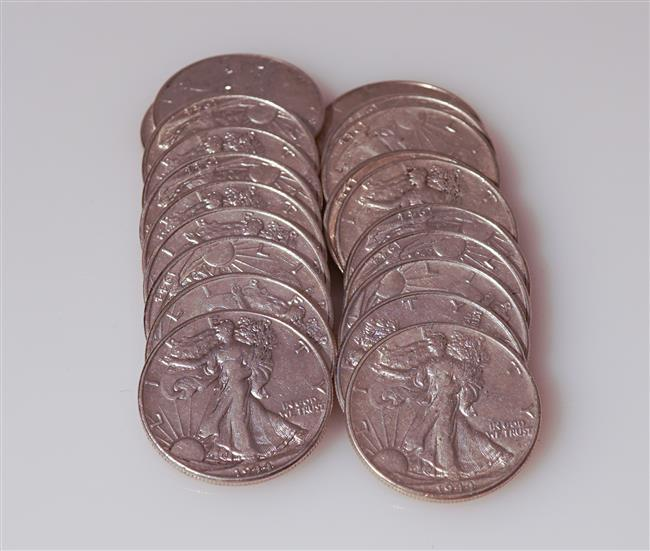 Twenty U.S. 1944 Walking Liberty Silver Half-Dollars