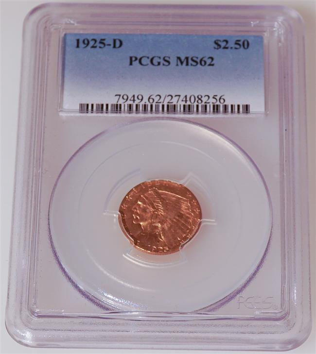 U.S. 1925-D Indian Head 2-1/2-Dollar Gold Coin