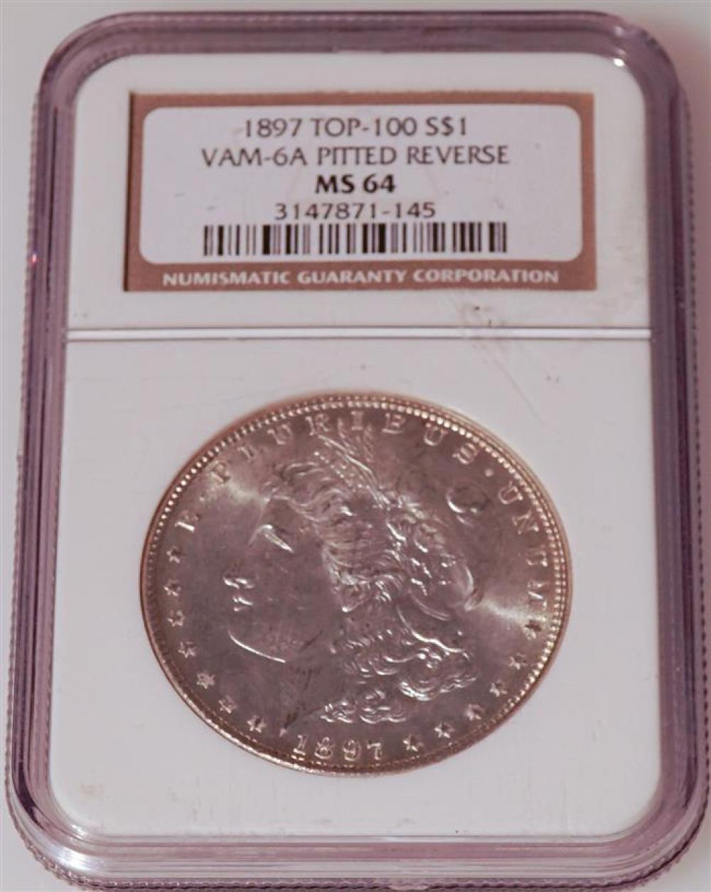 U.S. 1897-P Morgan Silver Dollar, Top 100 Vam-6A Pitted Reverse