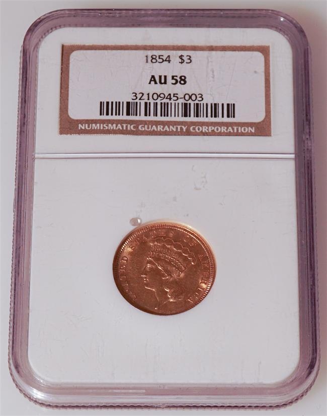 U.S. 1854 Indian Princess Head Three-Dollar Gold Coin