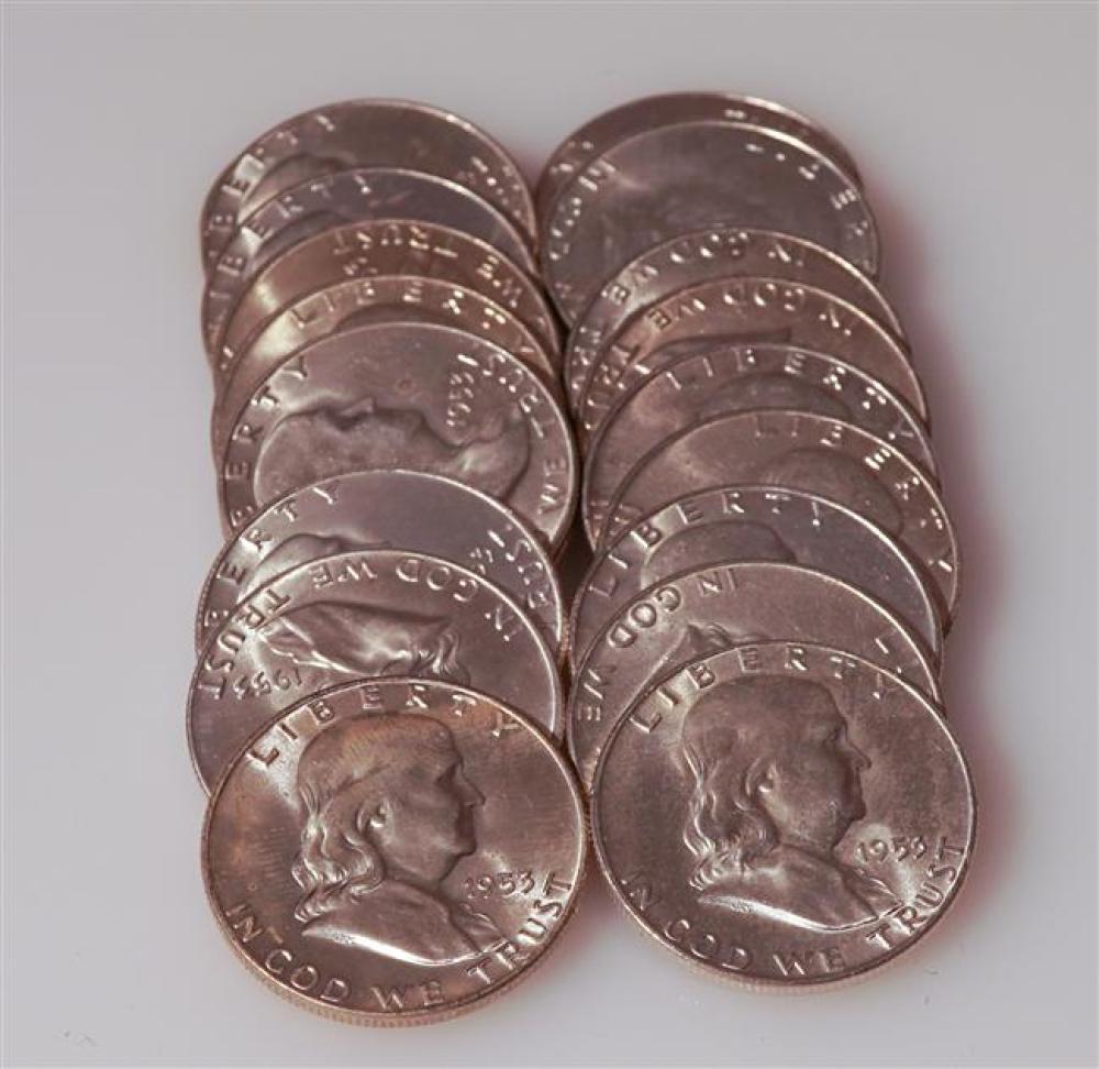 Twenty U.S. 1953-D Franklin Silver Half-Dollars