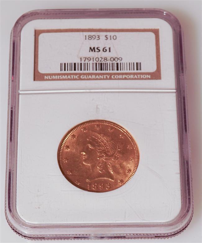 U.S. 1893 Liberty Head Ten-Dollar Gold Coin