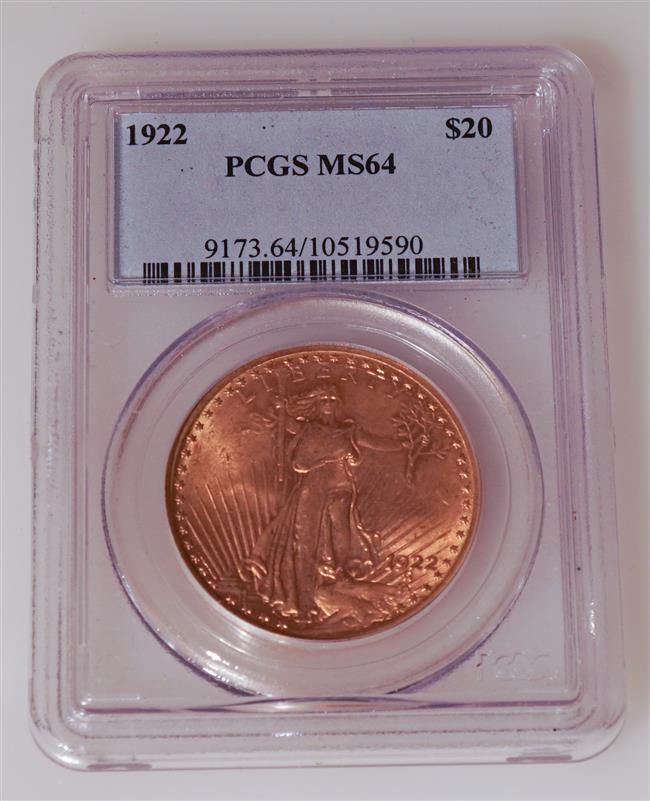 U.S. 1922 Saint-Gaudens Twenty-Dollar Gold Coin