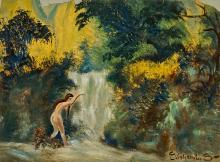 Louis Michel Eilshemius (American 1864-1941), Nude by a Waterfall and Study of Yosemite: Two Works, Each on Paper, Larger: 8 x 11 in