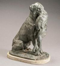 Joseph Franz Pallenberg (German 1882-1946), Hound with Game Rabbit, Bronze, Height: 19-1/2 inches