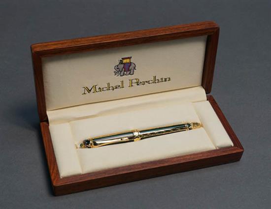 Michel Perchin Green Guilloché Enamel and Vermeil Sterling Silver 'Fabergé Imperial' Fountain Pen