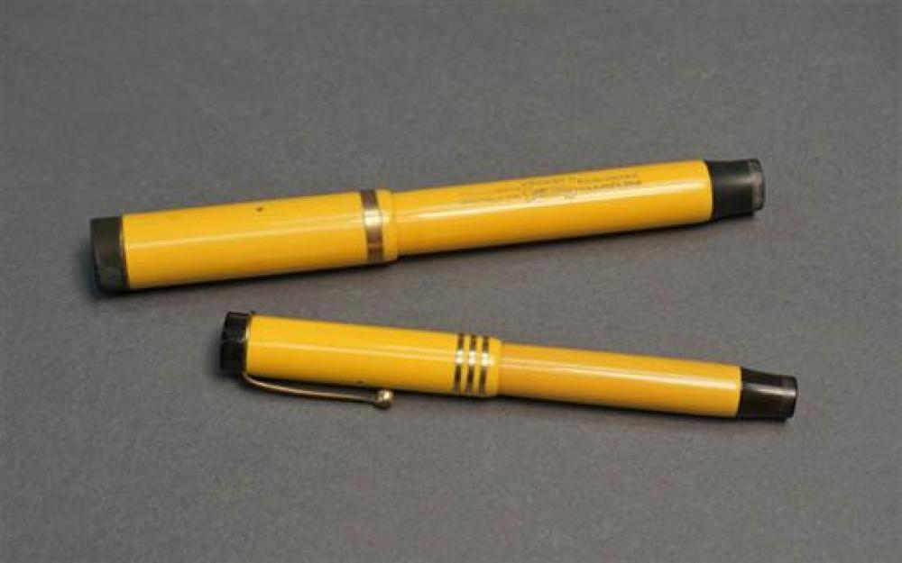 Parker Duofold 'Mandarin Yellow' Fountain Pen and a Lady's Fountain Pen