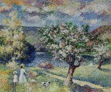 Lucien Neuquelman (French 1909-1988), Paysage de Printemps, Signed Oil on Canvas, 21 x 25-1/2 inches