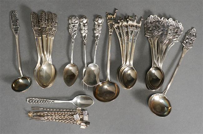 Group with South American Silver Spoons and Hors d'oeuvres Picks, 11.3 oz