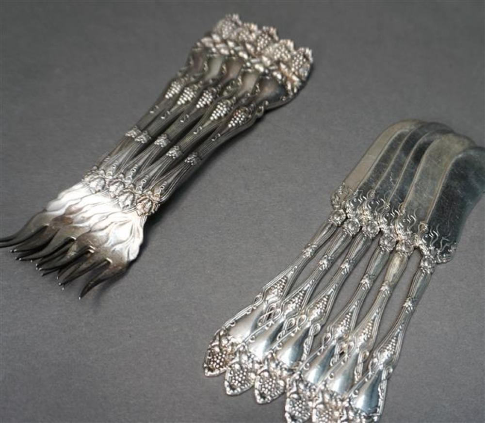 Five Sterling Seafood Forks and Six One-Piece Butter Spreaders, 8 oz