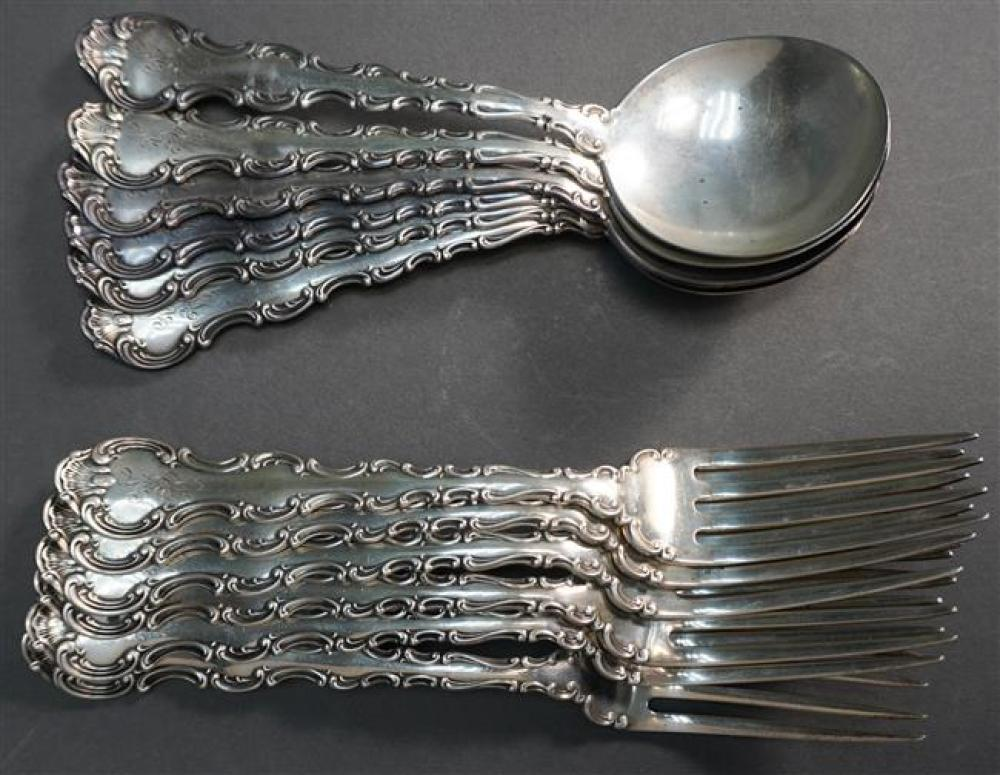 Six Gorham Sterling Strasbourg Place Forks and Six Soup Spoons, 18.6 oz
