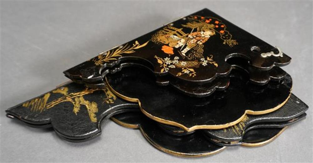 Two Japanese Black Lacquer Corner Brackets