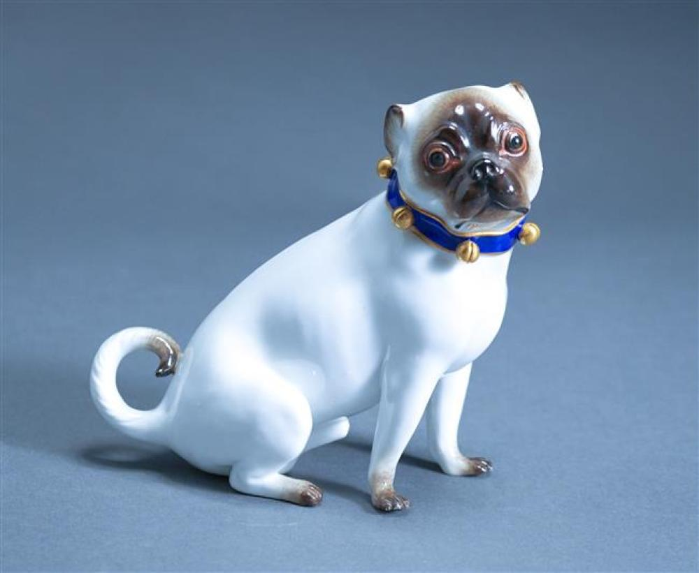 Meissen Figure of a Pug; Measured Height 5 Inches; (Repair to Ribbon Collar)