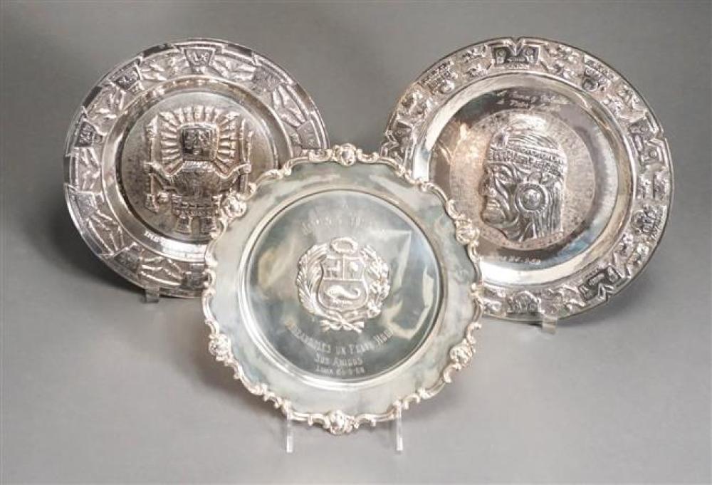 Three Peruvian Repousse 925-Silver Round Plaques, 27 oz