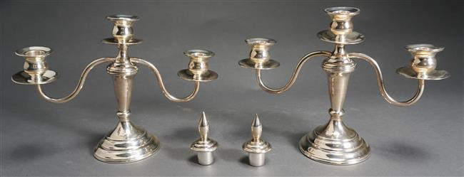 Pair 950-Weighted Sterling Three-Light Candleabra