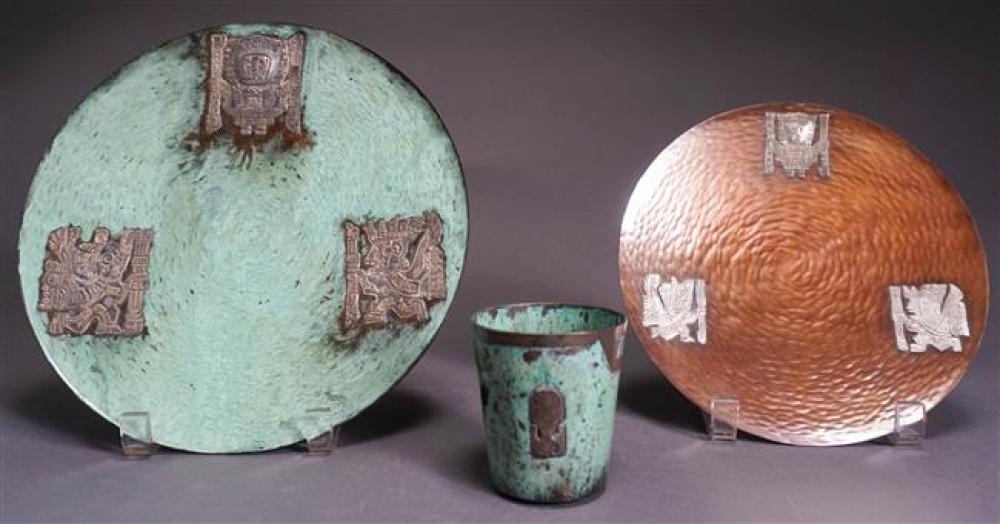 Three Peruvian Sterling Mounted Copper Table Articles