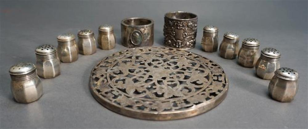 Sterling Trivet Frame, One Napkin Rings and Ten Individual Salt and Pepper Shakers with Silverplate Napkin Ring, Weighable 5.85 ozt